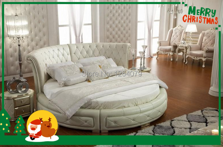 Hot Selling Model New Antique Round Leather Bed EV-15(China (Mainland))