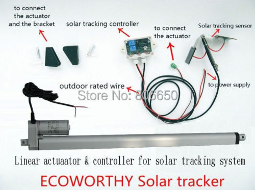 USA stock, NEW! 1KW solar tracker system -single Axis , linear actuator, Complete Kit Sunlight Tracking *(China (Mainland))