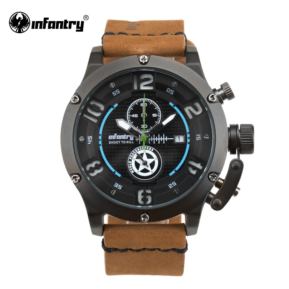 Фотография INFANTRY Luxury Brand Sport Watch Nightvision Quartz Clock Casual Leather Army Military Watch Male Relogio World Peacekeepers