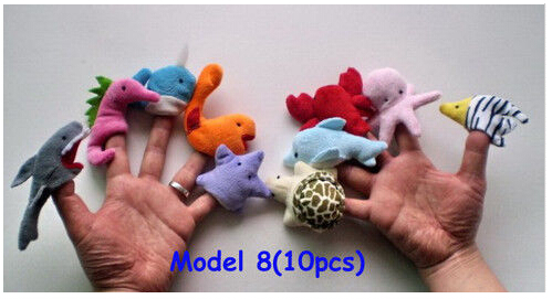 10Pcs Marine animals Finger Puppets plush Cloth Doll Baby Kid Educational Hand Toy Story(China (Mainland))