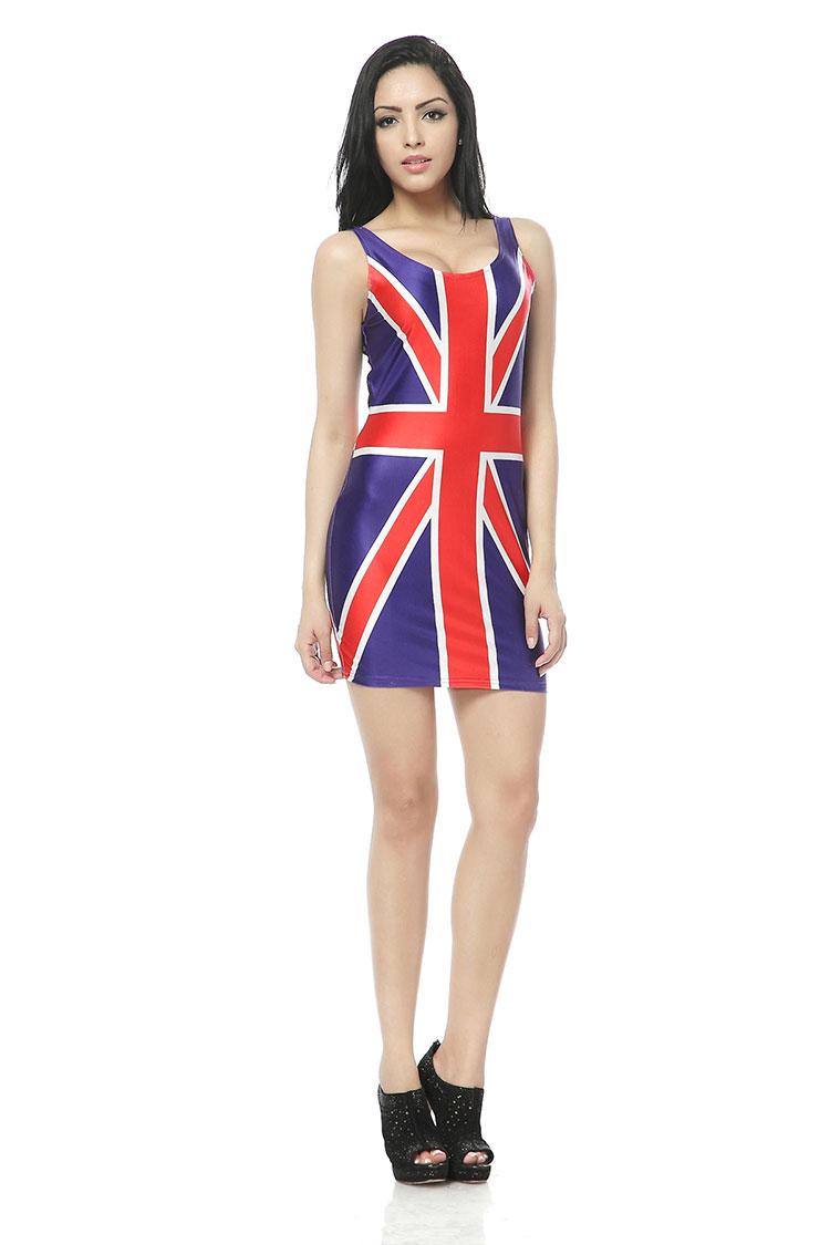 ROYAUME-UNI Angleterre Drapeau Britannique Gilet D'été Robe de Plage Robes Vêtements Porter Femme Vêtements Mode Sans Manches 3d Numérique Impression Robe(China (Mainland))