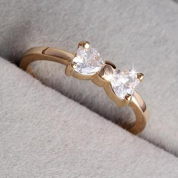 Austria Crystal CZ Diamond Rings Gold Plated Finger Bow Ring Wedding Engagement Zircon Crystal Rings R1
