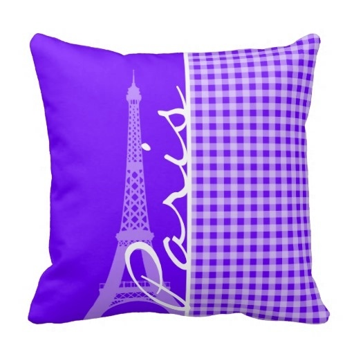 """Trendy Electric Indigo Gingham Paris Pillow Case (Size: 20"""" by 20"""") Free Shipping(China (Mainland))"""