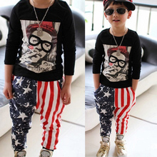 New Kids Toddler Unique Stars Stripes Harem Pants Asymmetry Printed Free Shipping(China (Mainland))