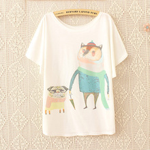 2016 Top Brand O-Neck Women T Shirt Coming Dogs and foxes printing t-shirt short sleeve Casual t shirt Woman loose tops tees