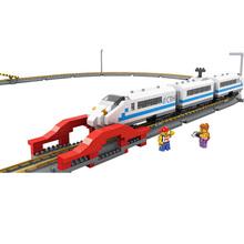 China Railway High-speed Diamond Building Blocks LOZ Mini Electric Train Model DIY Small Bricks Educational Brinquedos for Kids(China (Mainland))