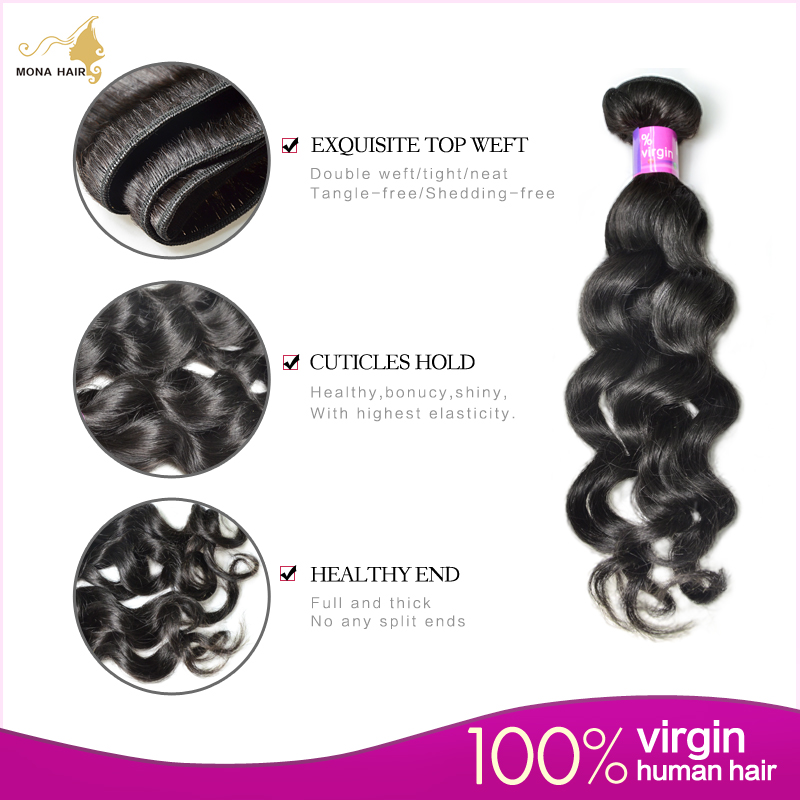 FREE SHIPPING, 100% malaysian virgin hair natural wave/loose wave natural color can be dyed, shedding & tangle free