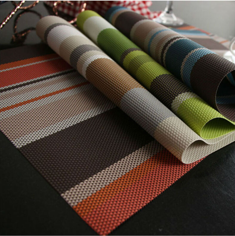 Multi-colour environmental-protection heat-insulation stripe plastic PVC meal mat(China (Mainland))