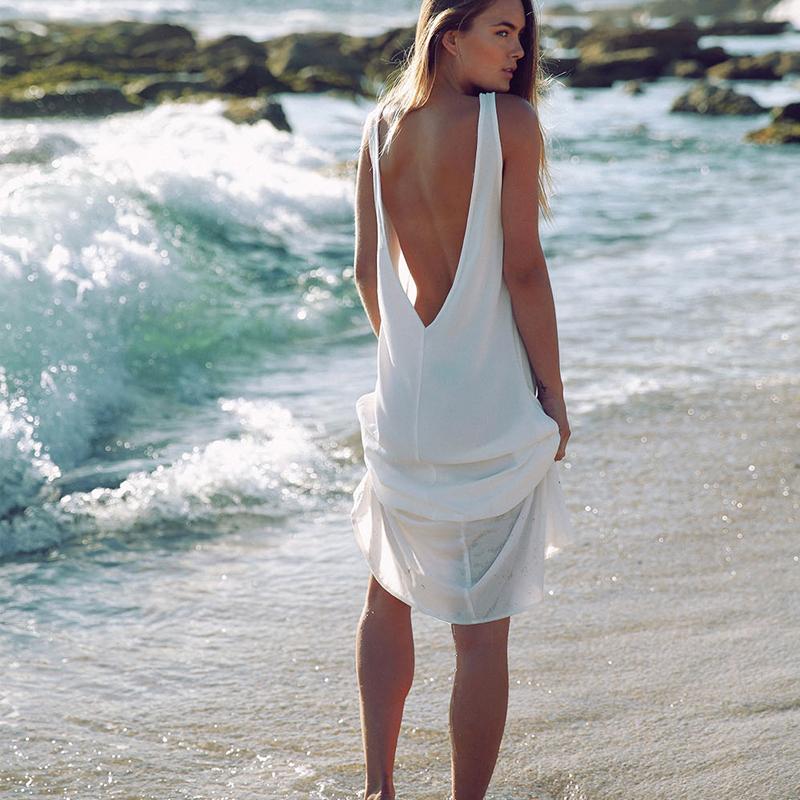 New Fashion Chiffon Summer Dresses Sexy Women White Beach Dress Casual O Neck Backless Long