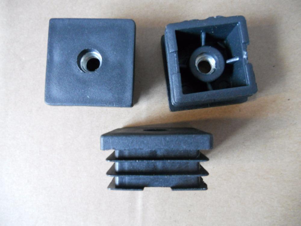 "100PCS/LOT 38mm(1.5"") * 38mm(1.5"") Plastic Square Tubing Tube Pipe End Insert Plugs M8 Thread(China (Mainland))"