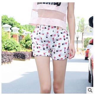 flat mid straight silk shorts in summer with pocket for women(China (Mainland))