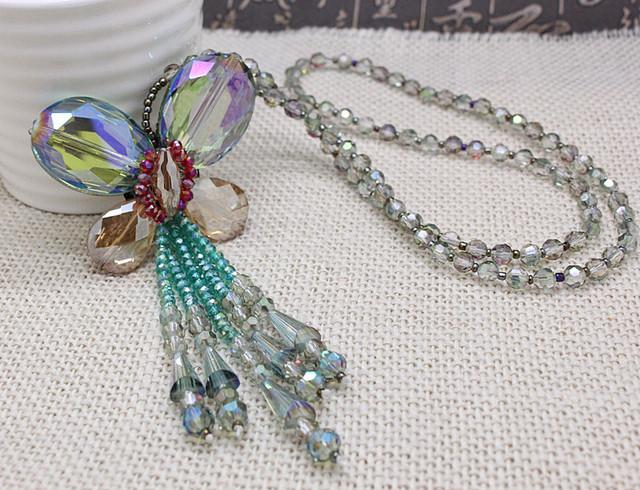 Элегантный amaing заявление дизайн ручной работы кристалл бабочка длинные ожерелья ...