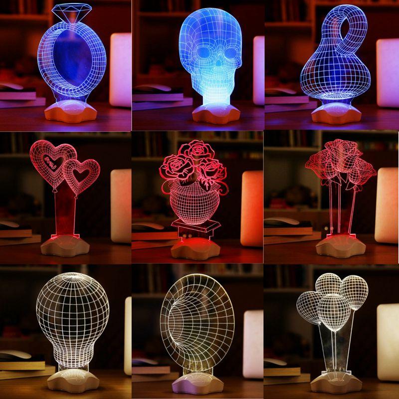 New Promotion Novelty Optical illusion 3D Luminous Micro USB Led Night Light Desk Table Lamp Various shape Decorative Lamp Hot(China (Mainland))