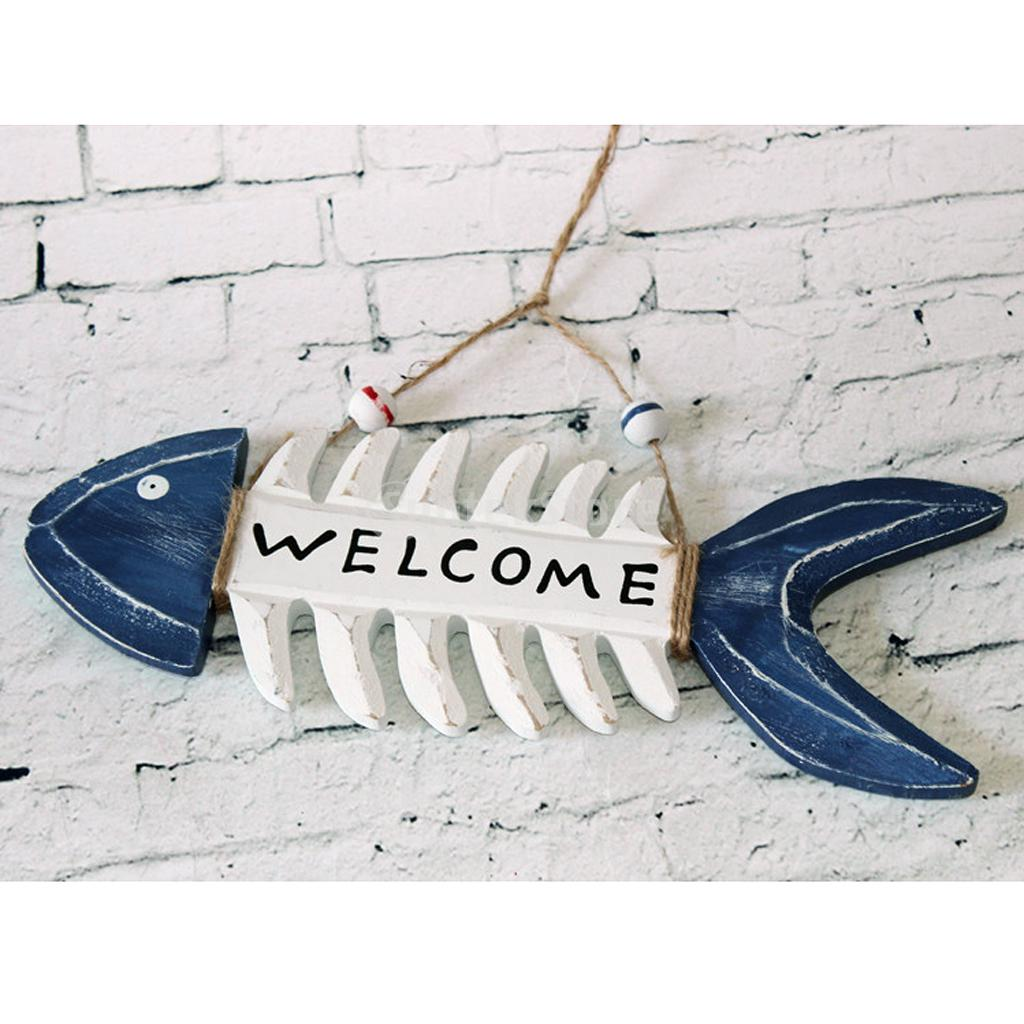 Welcome wooden fish skeleton hanging home shop beach theme for Fishing decorations for home