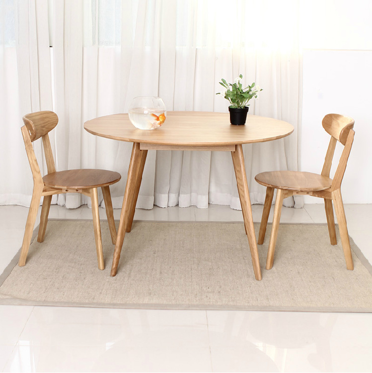 Solid wood furniture japanese style white oak round table dining table