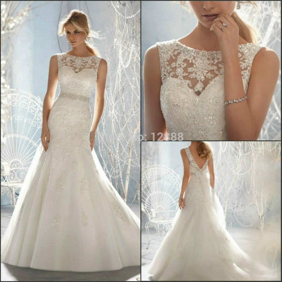 2015 new white or ivory sexy lace crystals mermaid high for White or ivory wedding dress