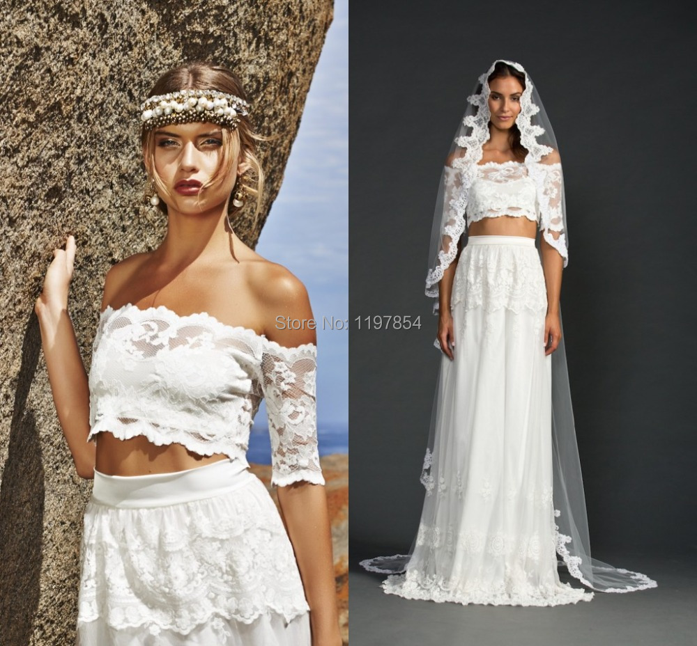 Two piece beach wedding dresses off the shoulder half for Tiered wedding dress with sleeves