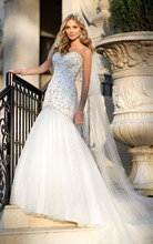 Tulle and Satin trumpet wedding dress handcrafted stunning sweetheart neckline court train Diamante Beading bridal gown(China (Mainland))