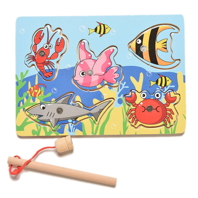 Children Fishing Game & Wooden Ocean Jigsaw Puzzle Board Magnetic Rod Toy Outdoor Fun Toy For Kid jogos de tabuleiro em madeira(China (Mainland))