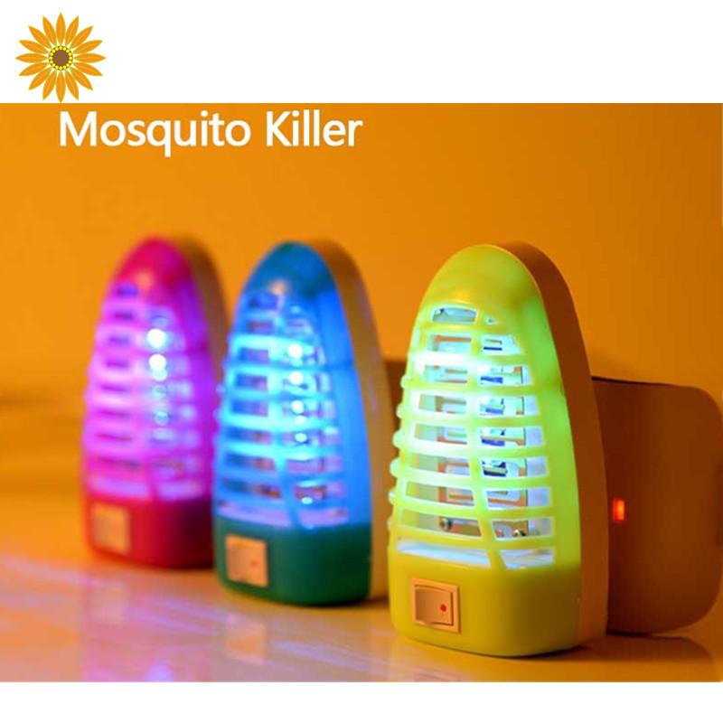 حلوى لون خلط الكهربائية قاتل البعوض يطير فخ الحشرات الحشرات أدى مصباح الليل ضوء مصباح المقبس التحكم الشوائب صاعق القاتل(China (Mainland))