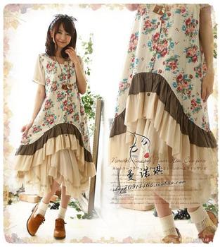 Patchwork irregular ruffle tunique femme vestido manga longa robe de plage hippie boho lolita - Tunique de plage femme ...