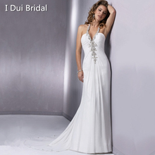 Bare Back Sexy Wedding Dresses Custom Make High Quality A line Chiffon Unique Style Halter Exquisit Beaded(China (Mainland))