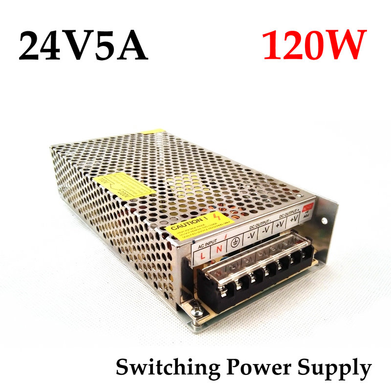 FreeShipping 24VDC 5A 120W Switching Power Supply Driver for Monitor camera/LED Strip AC 100~240V Input to DC 24V<br><br>Aliexpress
