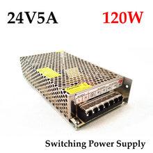 Envío gratuito 24VDC 5A 120 W fuente de alimentación conmutada conductor para Monitor de la cámara / llevó la tira AC 100 ~ 240 V de entrada a DC 24 V