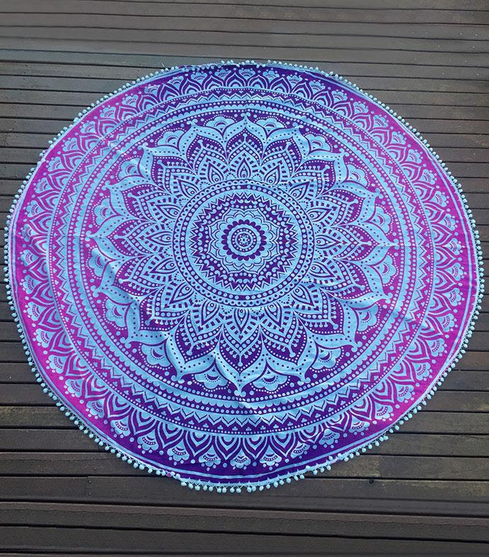 Women Cheap Summer Round Beach Towel Brand Large Travel Gym Camping Bath Pool Cover Ups Print Tassel Geometry Blanket For Adults(China (Mainland))
