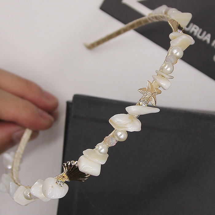 Korean female beach hair accessories fashion shells & starfish white flowers temperament hair bands nice luxury pearl hairbands(China (Mainland))