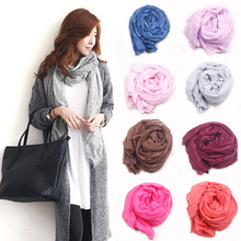2015 Brand Silk Scarves Solid Candy Color Elegant Women Soft Wrap Shawl Long Stole Spring Winter Scarf