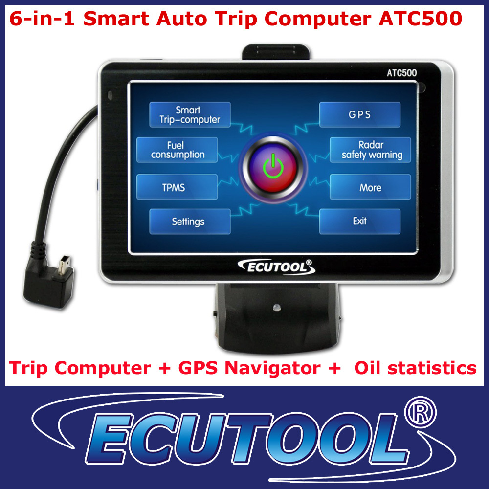 6 IN 1 MultiFunctional Car Smart Trip Computer ATC500 + GPS Navigation OBD 2 OBDii DTC Reader with 5.0' Color Touch Screen(China (Mainland))