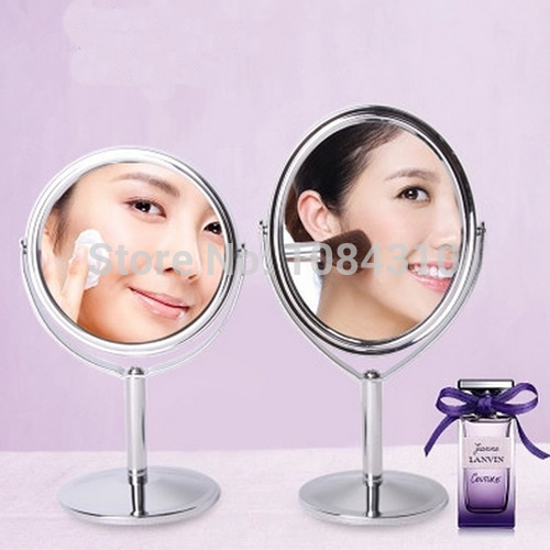 Free Shipping Women Mini Compact Beauty Makeup Mirror Normal + Magnifying Double-sided Mirror(China (Mainland))