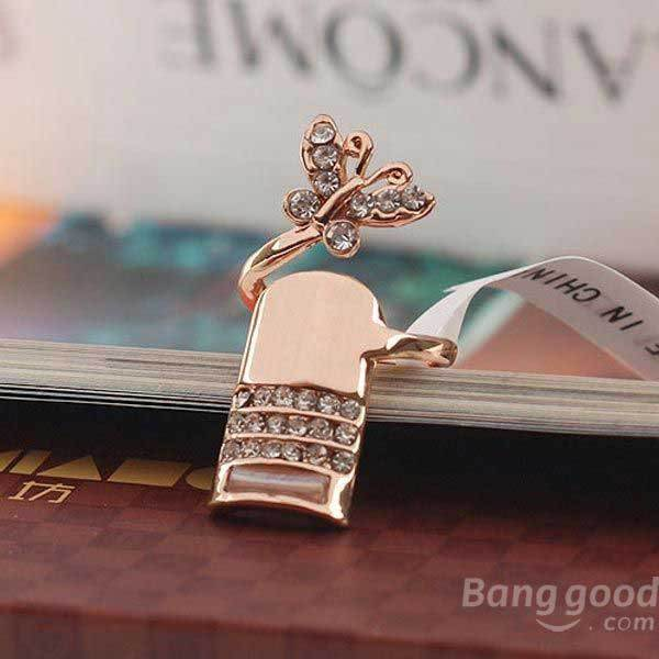EnjoyShop Alloy Polishing Crystal Butterfly Finger Nail Ring Silver Gold(China (Mainland))