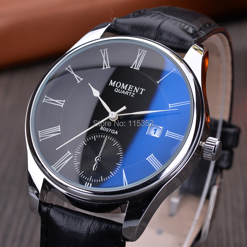Момент мужские часы верхний марка роскошь, Календарь кожа ремень синий двойной часы мужчины часы вилочная часть мужественный водонепроницаемый