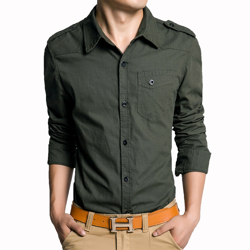 M 4xl big size camisa masculina casual military style mens for Mens military style long sleeve shirts