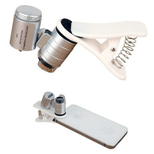High Quality Portable 60X Zoom LED Camera Lens Microscope Magnifier With Clip For Cell Phone Samsung iPhone HTC Free Shipping(China (Mainland))