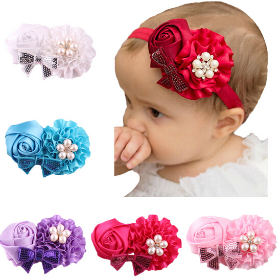 Baby Infant Pearl Flower Headband Hairband Pink/Red/Blue/Purple Can Select Rose hair band headwear For Children 1pc Retail(China (Mainland))