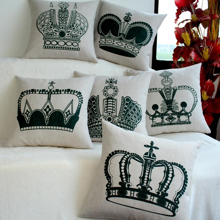 Free Shipping Retro Black White Crown Linen Fabric Office Sofa Pillow Hot Sale New Home Fashion Christmas Decor 45cm Car Cushion