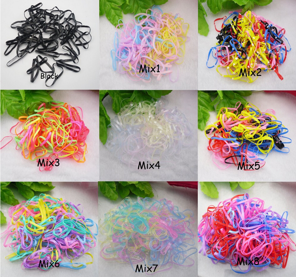 Free shipping large quantity 200pcs Rubber Hairband Rope Ponytail Holder Elastic Hair Band Ties Braids Plaits(China (Mainland))