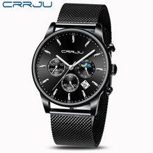 Relogio Masculino CRRJU montre à Quartz de luxe pour hommes montres à cadran bleu montres de Sport chronographe horloge maille ceinture montre-bracelet(China)