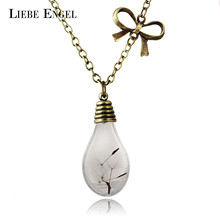 Buy LIEBE ENGEL Hot Sale Glass Bulb Shaped Dandelion Gold Color Long Chain Necklace Dried Flower Statement Maxi Necklace Women for $1.45 in AliExpress store