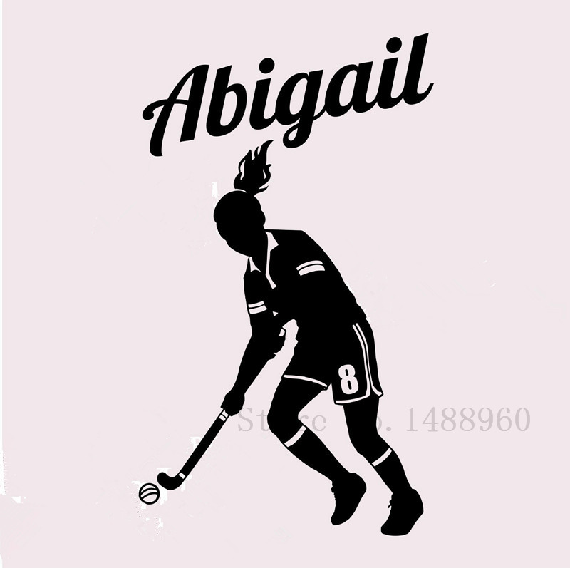 E552 Wall Stickers Home decor DIY poster Decal mural Vinyl Wall Decal Decoration Field Hockey Player Wall Custom Girl Name(China (Mainland))