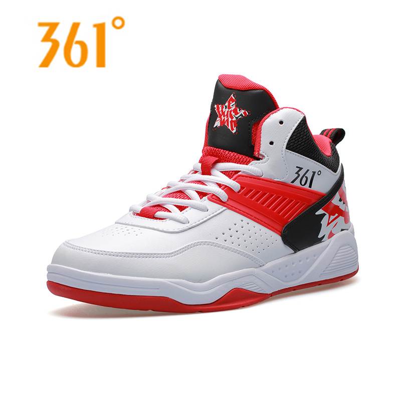 361 Men's Damping Hard-Wearing Athletic <font><b>Basketball</b></font> <font><b>Shoes</b></font> Breathable High Upper Outdoor Sports Sneakers