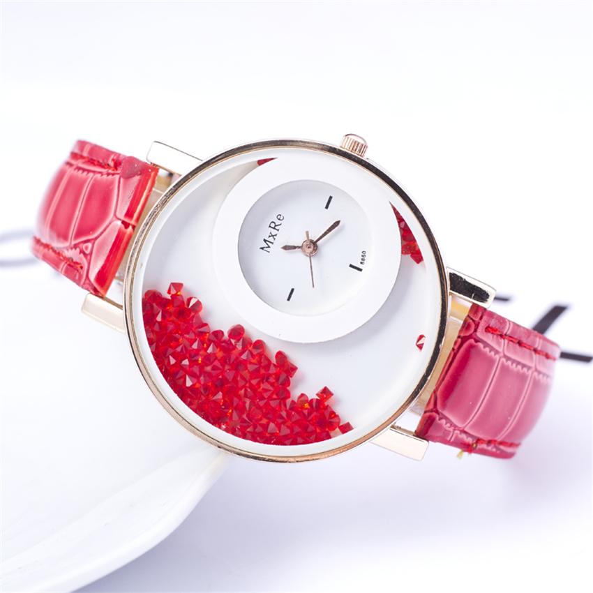 High quality 2015 New Fashion Trendy Casual Watch Moving Beads Crystal Quartz Women Dress Watch PU Leather ladies Wristwatch hot(China (Mainland))