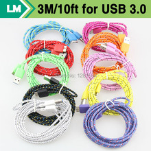 Buy Wholesale 500pcs/Lot 3M 10ft Durable Braided Fabric Micro USB 3.0 Data Charger Cable Samsung Galaxy Note 3 N9000 USB3.0 for $606.00 in AliExpress store