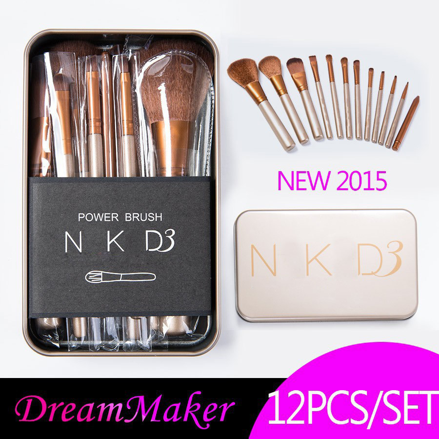 2015 Hot sale 12 pcs maquiagem makeup brushes professional beauty make up brush set/kit NAKE 3 cosmetic foundation brush(China (Mainland))