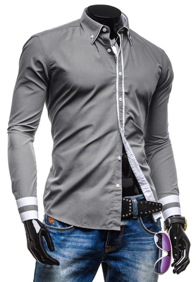 camisa de ajuste vestido delgado de los hombres