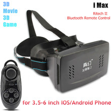 RITECH II Head Mount Plastic 3D VR Virtual Reality Glasses Google Cardboard for 3.5-6 inch Phone+ Bluetooth Gamepad Controller