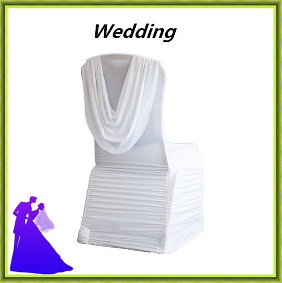 Free shipping new arrival spandex ruffled chair cover with swag(China (Mainland))